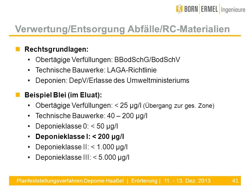 41 Planfeststellungsverfahren Deponie Haaßel | Erörterung | 11. - 13. Dez. 2013 Rechtsgrundlagen: Obertägige Verfüllungen: BBodSchG/BodSchV Technische