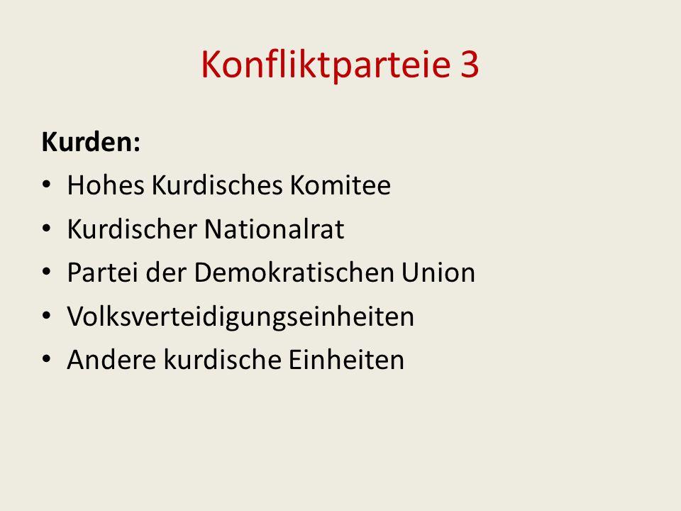 Konfliktparteie 3 Kurden: Hohes Kurdisches Komitee Kurdischer Nationalrat Partei der Demokratischen Union Volksverteidigungseinheiten Andere kurdische Einheiten