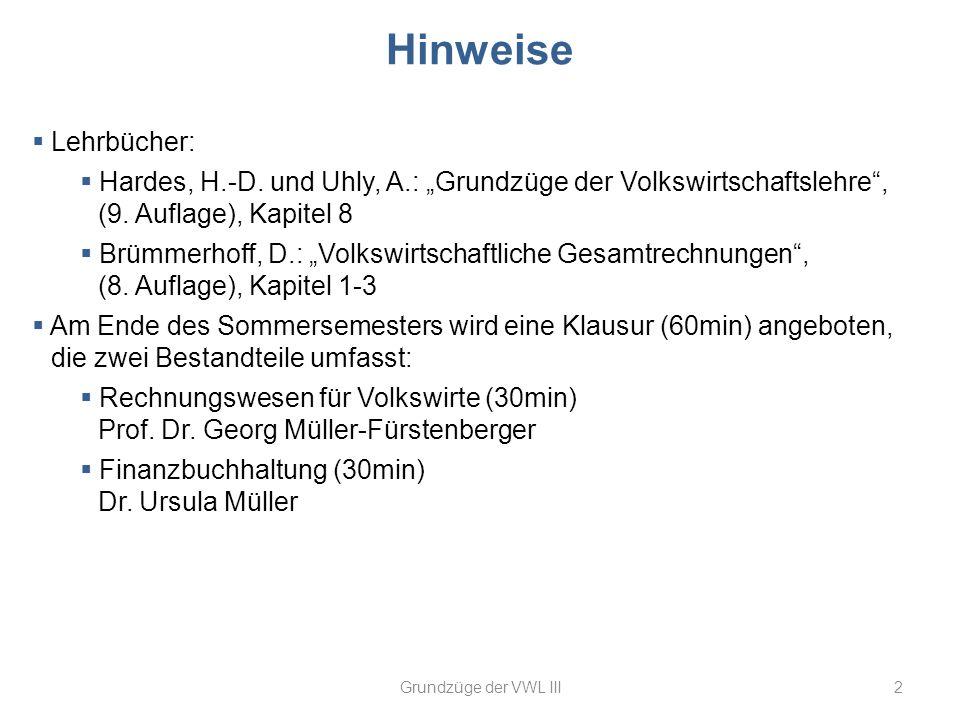 Hinweise 2Grundzüge der VWL III Lehrbücher: Hardes, H.-D. und Uhly, A.: Grundzüge der Volkswirtschaftslehre, (9. Auflage), Kapitel 8 Brümmerhoff, D.: