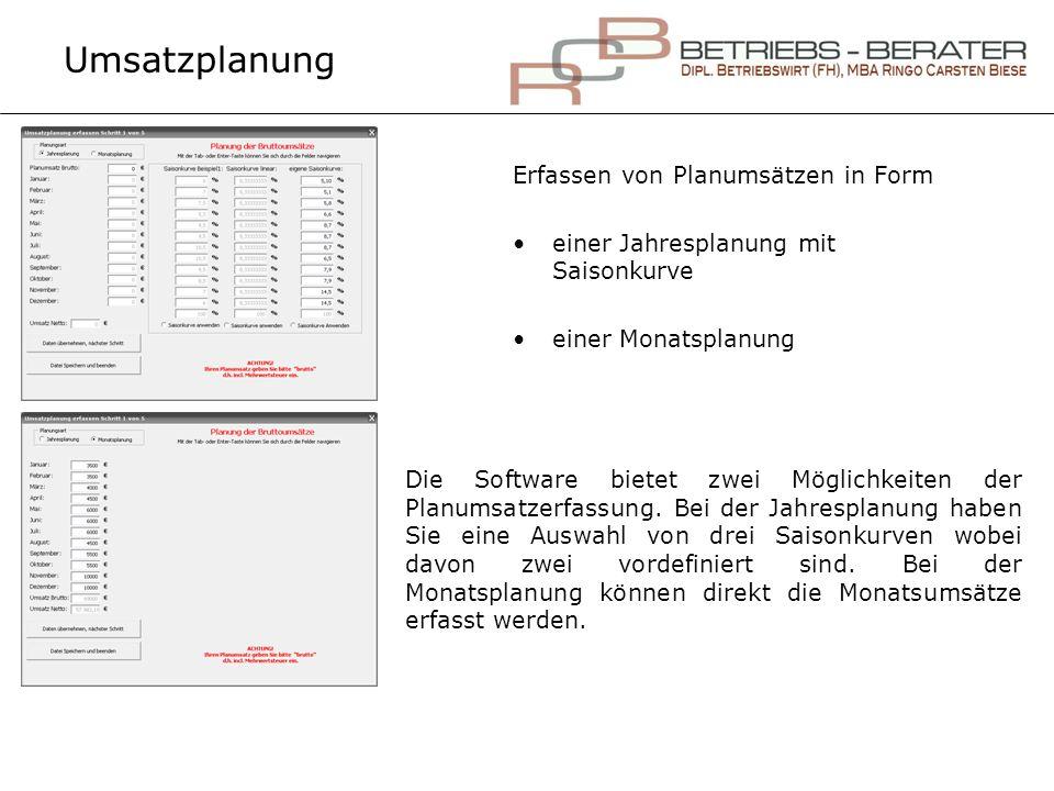Umsatzplanung Erfassen von Planumsätzen in Form einer Jahresplanung mit Saisonkurve einer Monatsplanung Die Software bietet zwei Möglichkeiten der Pla