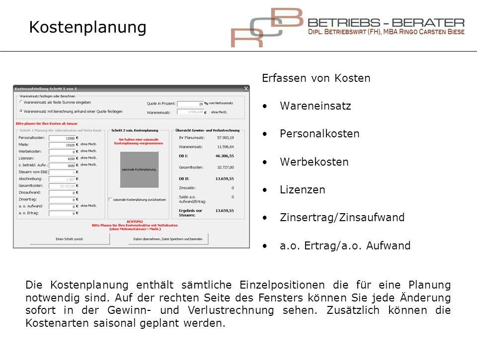 Kostenplanung Erfassen von Kosten Wareneinsatz Personalkosten Werbekosten Lizenzen Zinsertrag/Zinsaufwand a.o. Ertrag/a.o. Aufwand Die Kostenplanung e