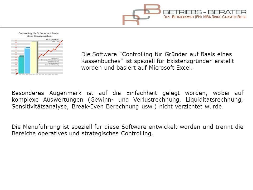 Zusammenfassung Die Software Controlling für Gründer auf Basis eines Kassenbuches erfüllt sämtliche Anforderungen für Existenzgründer.