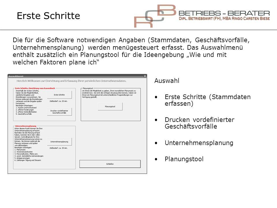Erste Schritte Auswahl Erste Schritte (Stammdaten erfassen) Drucken vordefinierter Geschäftsvorfälle Unternehmensplanung Planungstool Die für die Soft