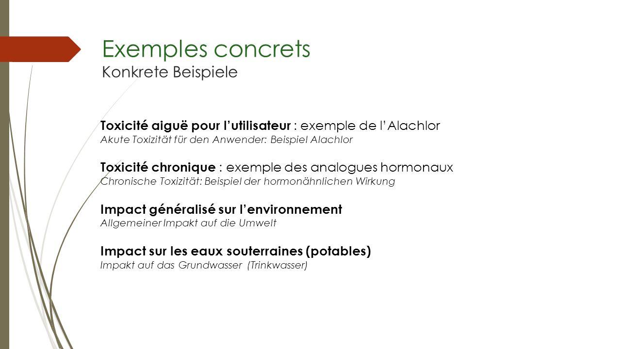 Exemples concrets Konkrete Beispiele Toxicité aiguë pour lutilisateur : exemple de lAlachlor Akute Toxizität für den Anwender: Beispiel Alachlor Toxic