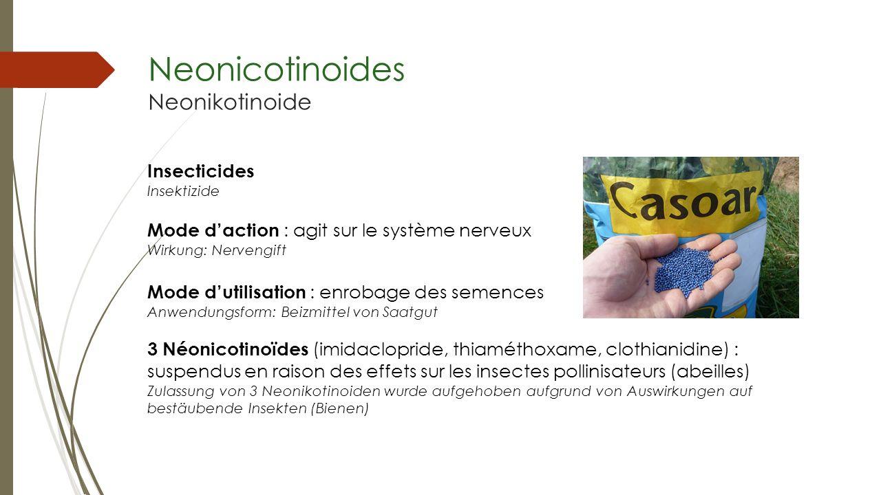 Neonicotinoides Neonikotinoide Insecticides Insektizide Mode daction : agit sur le système nerveux Wirkung: Nervengift Mode dutilisation : enrobage de