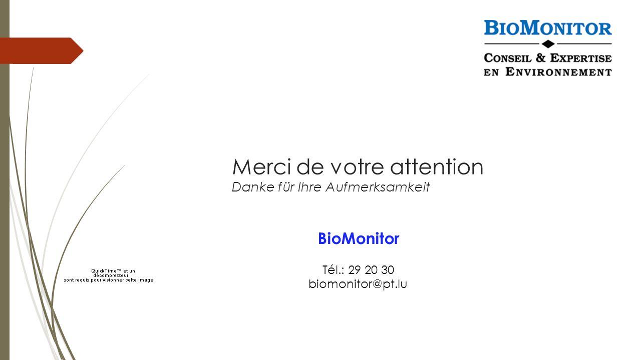 Merci de votre attention Danke für Ihre Aufmerksamkeit BioMonitor Tél.: 29 20 30 biomonitor@pt.lu
