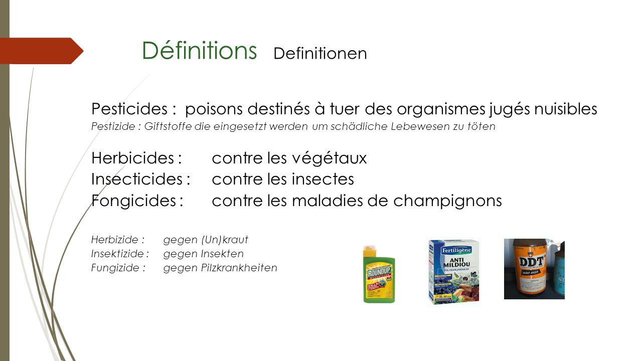 Définitions Definitionen Pesticides : poisons destinés à tuer des organismes jugés nuisibles Pestizide : Giftstoffe die eingesetzt werden um schädlich