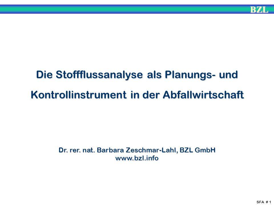 BZL SFA # 1 Die Stoffflussanalyse als Planungs- und Kontrollinstrument in der Abfallwirtschaft Dr. rer. nat. Barbara Zeschmar-Lahl, BZL GmbH www.bzl.i