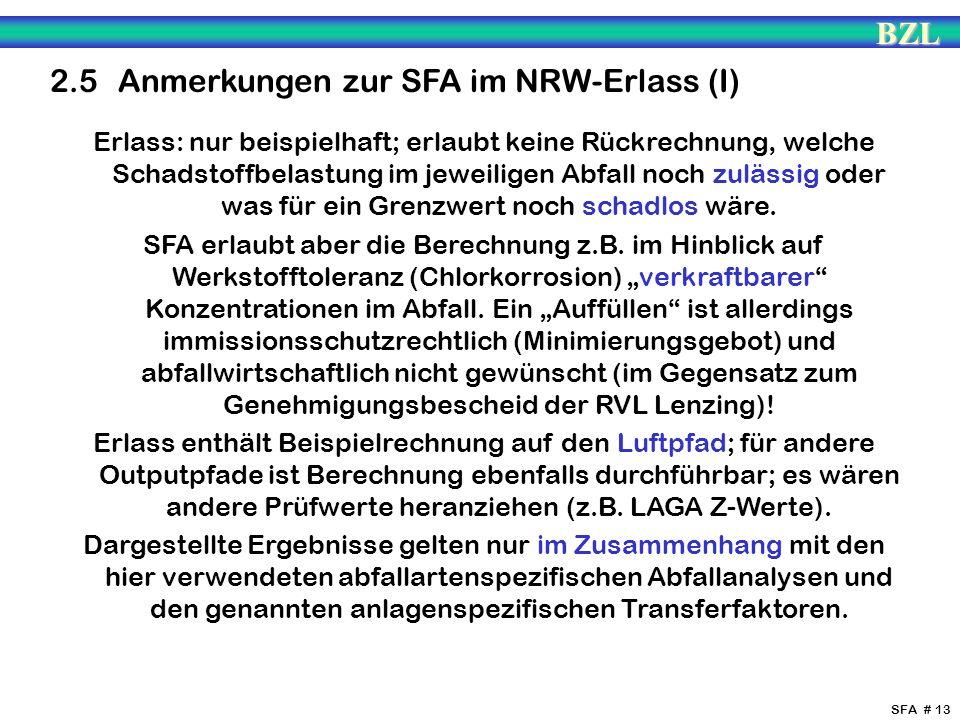 BZL SFA # 13 2.5 Anmerkungen zur SFA im NRW-Erlass (I) Erlass: nur beispielhaft; erlaubt keine Rückrechnung, welche Schadstoffbelastung im jeweiligen
