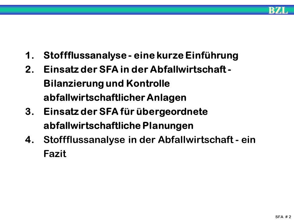 BZL SFA # 2 1. Stoffflussanalyse - eine kurze Einführung 2. Einsatz der SFA in der Abfallwirtschaft - Bilanzierung und Kontrolle abfallwirtschaftliche