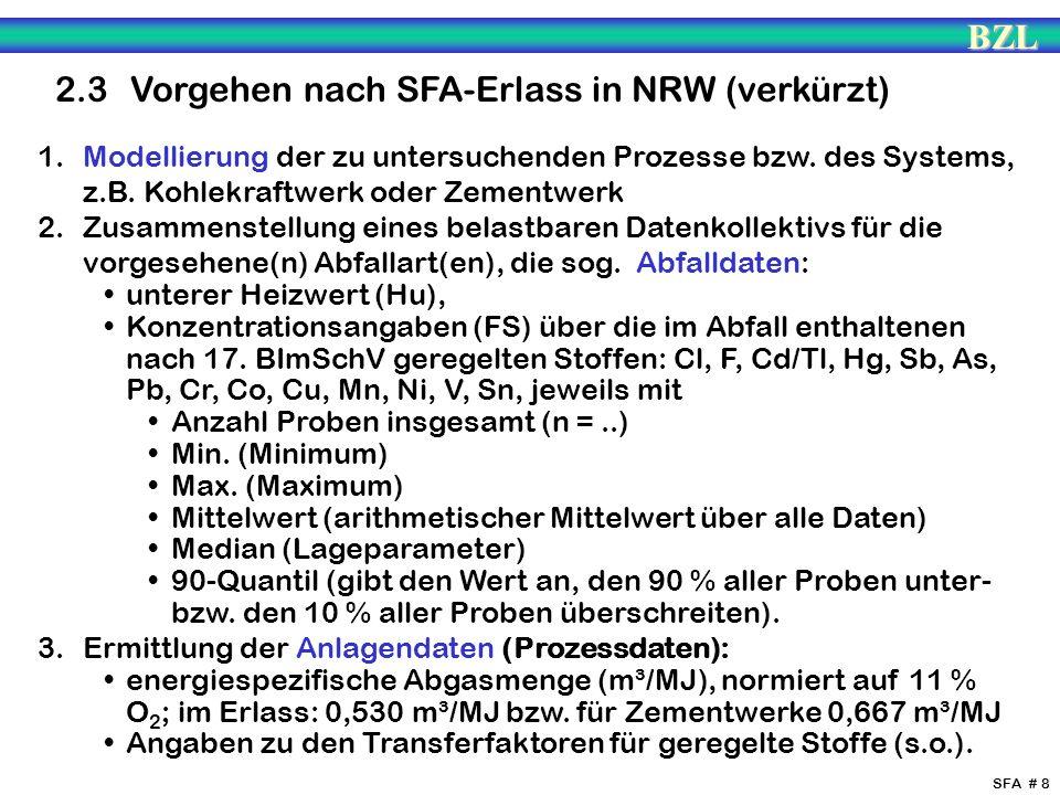 BZL SFA # 8 2.3 Vorgehen nach SFA-Erlass in NRW (verkürzt) 1. Modellierung der zu untersuchenden Prozesse bzw. des Systems, z.B. Kohlekraftwerk oder Z