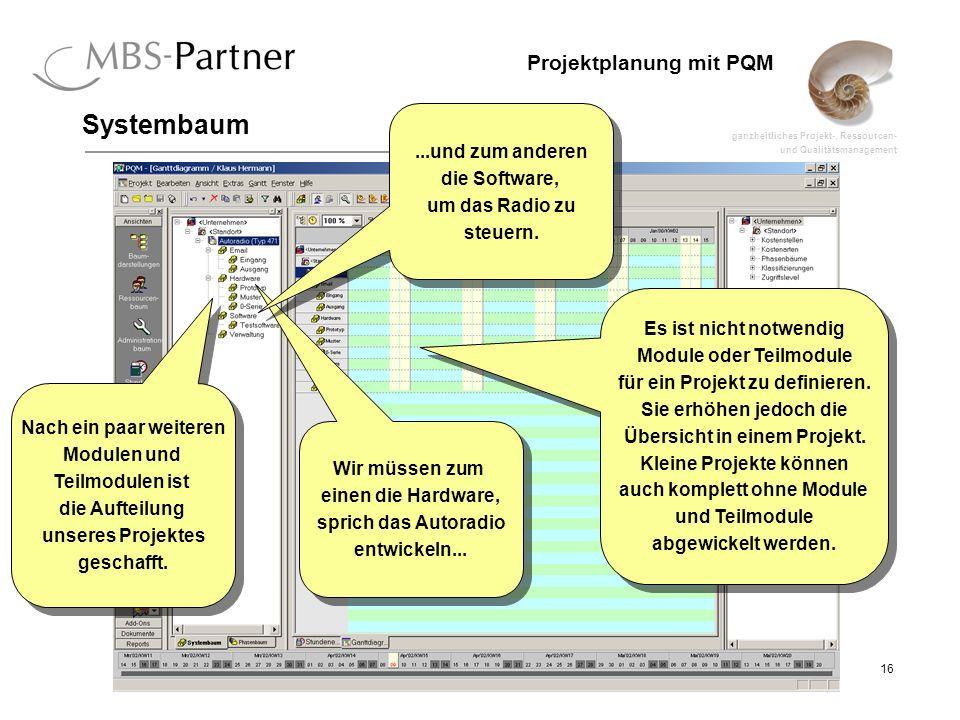 ganzheitliches Projekt-, Ressourcen- und Qualitätsmanagement 16 Projektplanung mit PQM Systembaum Nach ein paar weiteren Modulen und Teilmodulen ist d