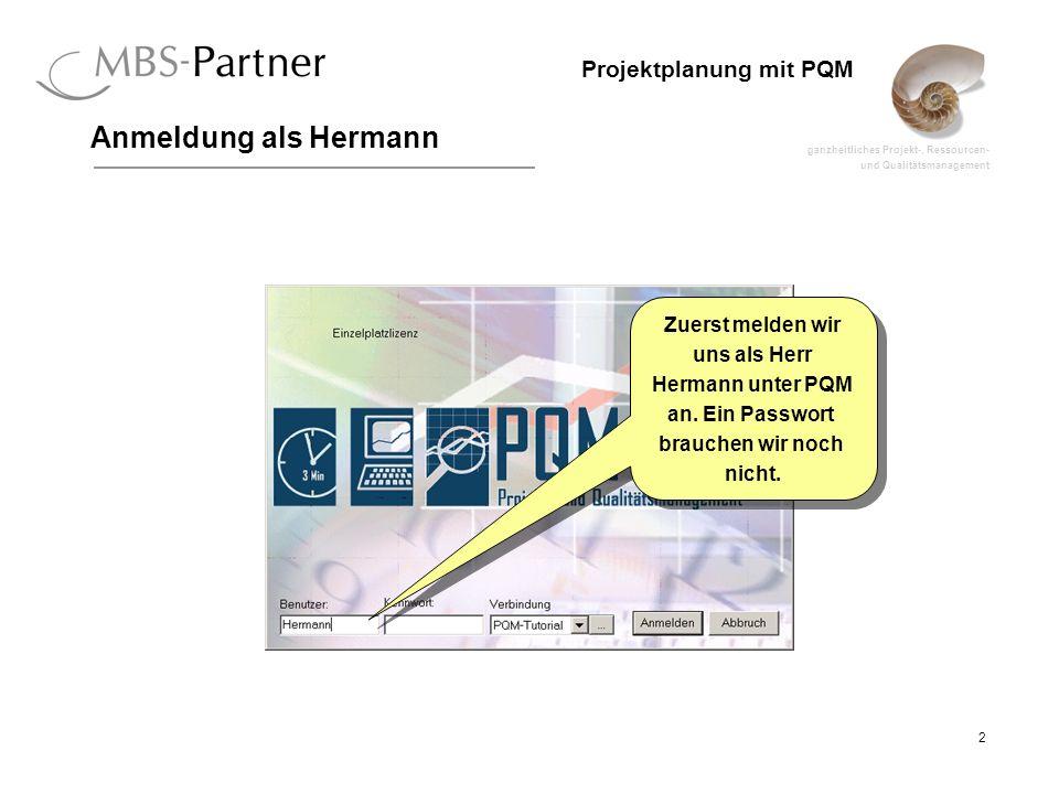 ganzheitliches Projekt-, Ressourcen- und Qualitätsmanagement 2 Projektplanung mit PQM Anmeldung als Hermann Zuerst melden wir uns als Herr Hermann unt