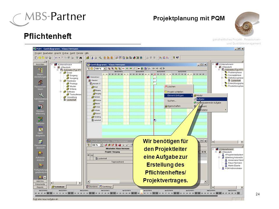 ganzheitliches Projekt-, Ressourcen- und Qualitätsmanagement 24 Projektplanung mit PQM Pflichtenheft Wir benötigen für den Projektleiter eine Aufgabe