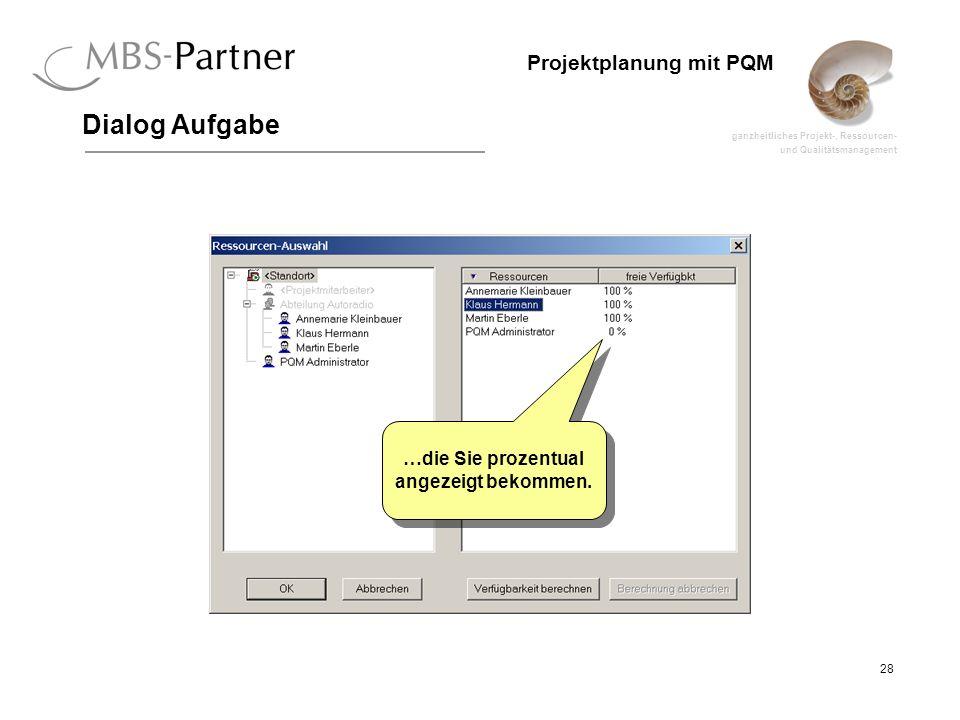 ganzheitliches Projekt-, Ressourcen- und Qualitätsmanagement 28 Projektplanung mit PQM Dialog Aufgabe …die Sie prozentual angezeigt bekommen.