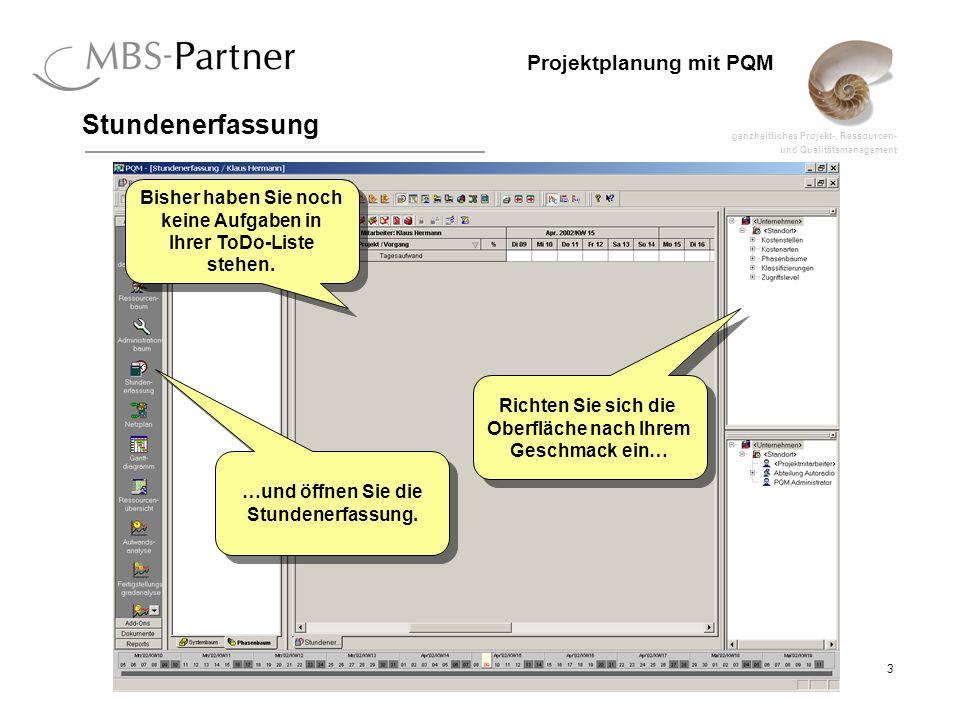 ganzheitliches Projekt-, Ressourcen- und Qualitätsmanagement 3 Projektplanung mit PQM Stundenerfassung Richten Sie sich die Oberfläche nach Ihrem Gesc