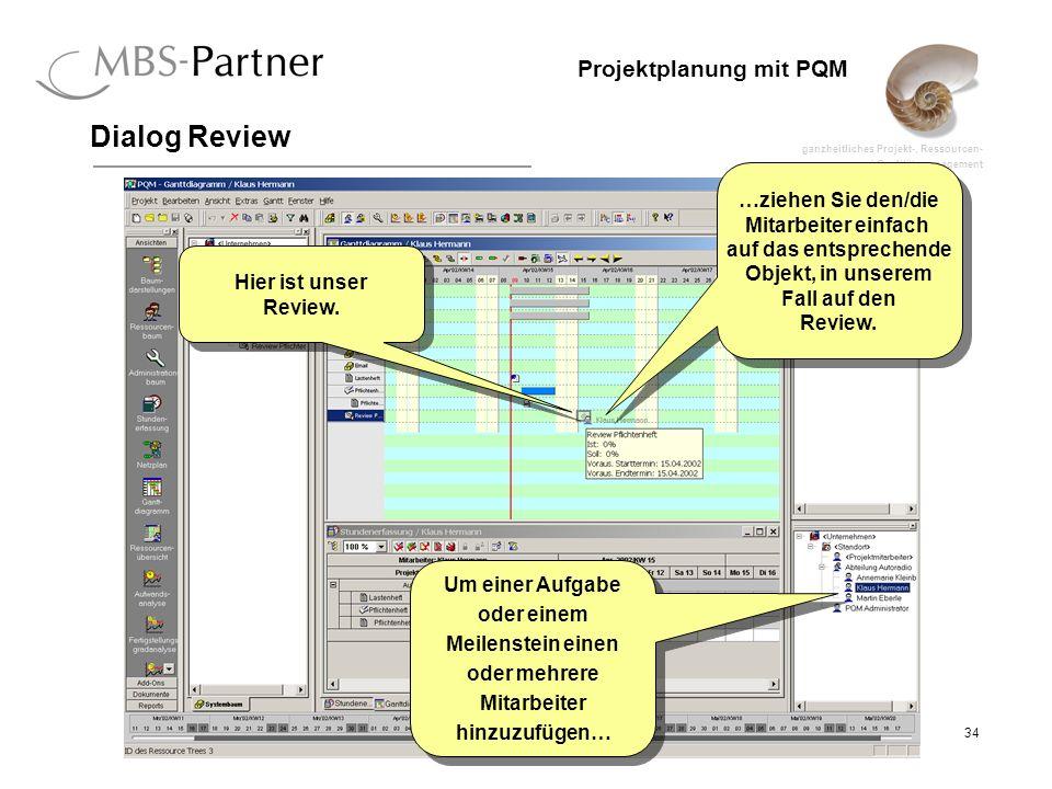 ganzheitliches Projekt-, Ressourcen- und Qualitätsmanagement 34 Projektplanung mit PQM Dialog Review Hier ist unser Review. Um einer Aufgabe oder eine