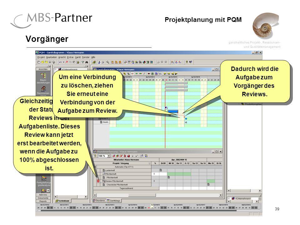 ganzheitliches Projekt-, Ressourcen- und Qualitätsmanagement 39 Projektplanung mit PQM Vorgänger Dadurch wird die Aufgabe zum Vorgänger des Reviews. D