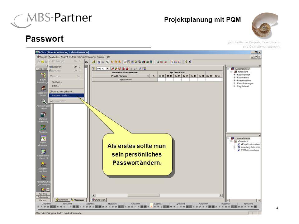ganzheitliches Projekt-, Ressourcen- und Qualitätsmanagement 4 Projektplanung mit PQM Passwort Als erstes sollte man sein persönliches Passwort ändern