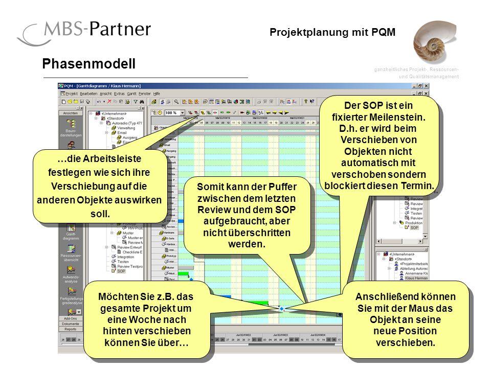 ganzheitliches Projekt-, Ressourcen- und Qualitätsmanagement 45 Projektplanung mit PQM Phasenmodell Der SOP ist ein fixierter Meilenstein. D.h. er wir