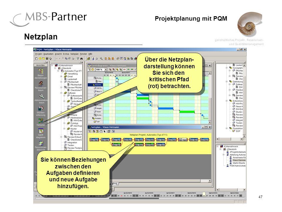 ganzheitliches Projekt-, Ressourcen- und Qualitätsmanagement 47 Projektplanung mit PQM Netzplan Über die Netzplan- darstellung können Sie sich den kri