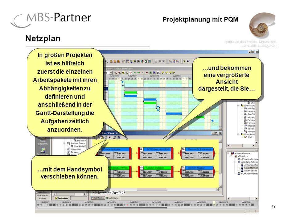 ganzheitliches Projekt-, Ressourcen- und Qualitätsmanagement 49 Projektplanung mit PQM Netzplan …und bekommen eine vergrößerte Ansicht dargestellt, di