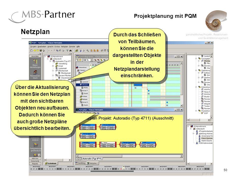 ganzheitliches Projekt-, Ressourcen- und Qualitätsmanagement 50 Projektplanung mit PQM Netzplan Durch das Schließen von Teilbäumen, können Sie die dar