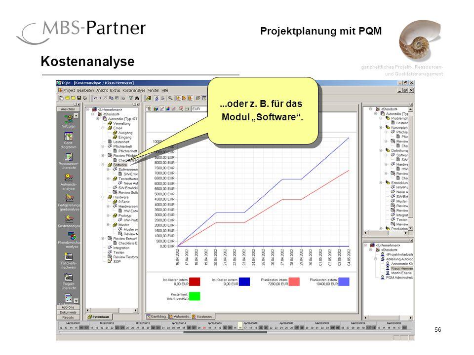 ganzheitliches Projekt-, Ressourcen- und Qualitätsmanagement 56 Projektplanung mit PQM Kostenanalyse...oder z. B. für das Modul Software....oder z. B.