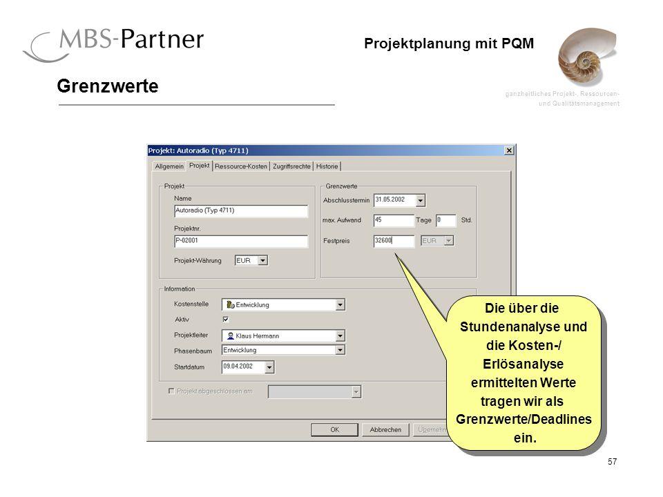 ganzheitliches Projekt-, Ressourcen- und Qualitätsmanagement 57 Projektplanung mit PQM Grenzwerte Die über die Stundenanalyse und die Kosten-/ Erlösan