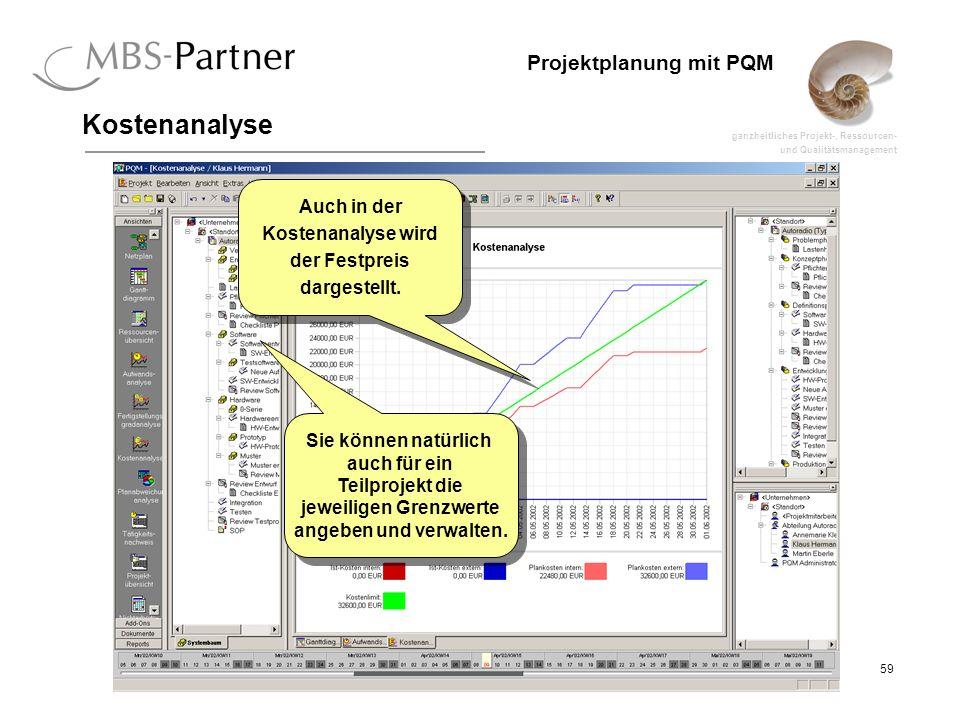 ganzheitliches Projekt-, Ressourcen- und Qualitätsmanagement 59 Projektplanung mit PQM Kostenanalyse Auch in der Kostenanalyse wird der Festpreis darg