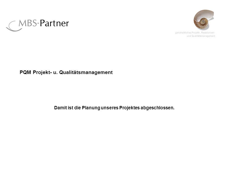 ganzheitliches Projekt-, Ressourcen- und Qualitätsmanagement PQM Projekt- u. Qualitätsmanagement Damit ist die Planung unseres Projektes abgeschlossen