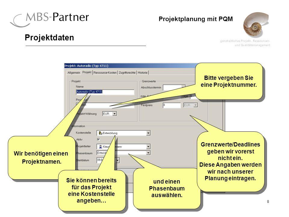 ganzheitliches Projekt-, Ressourcen- und Qualitätsmanagement 8 Projektplanung mit PQM Projektdaten Bitte vergeben Sie eine Projektnummer. Wir benötige