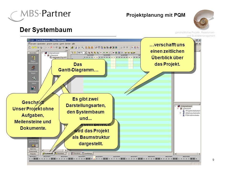 ganzheitliches Projekt-, Ressourcen- und Qualitätsmanagement 9 Projektplanung mit PQM Der Systembaum Geschafft! Unser Projekt ohne Aufgaben, Meilenste
