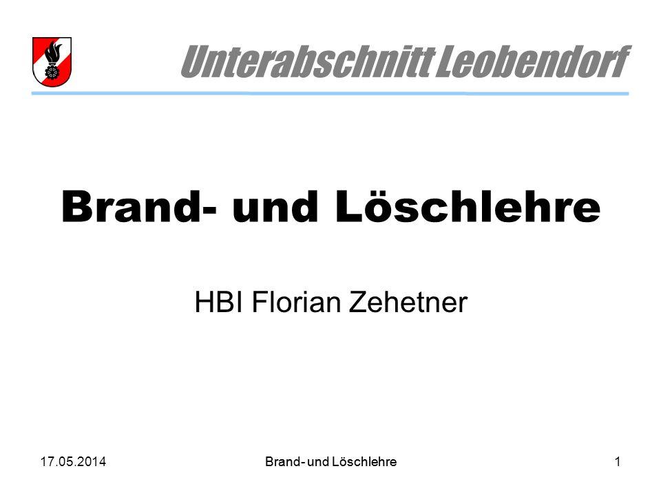 17.05.2014Brand- und Löschlehre1 Unterabschnitt Leobendorf HBI Florian Zehetner