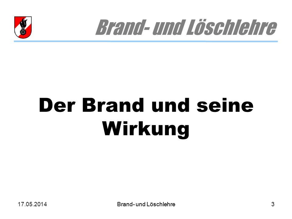 17.05.2014Brand- und Löschlehre3 Der Brand und seine Wirkung