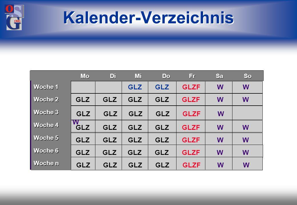 OSG 25 Bezeichnung Tagesmodell Rahmen- zeit Normal- zeit Pausen- zeiten GLZ GLZF NORMAL OHNE 6:30 - 19:00 8:00 - 17:00 6:30 - 16:00 8:00 - 14:00 8:00