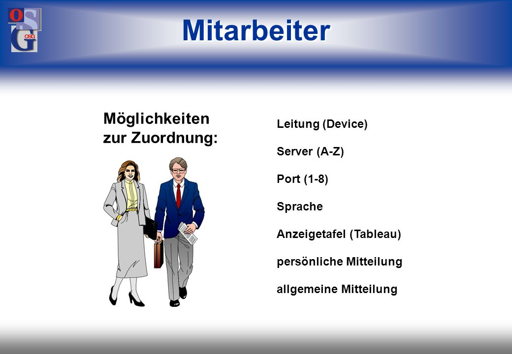 OSG 35 Zeiterfassung Auswertungen Erfassungsprotokolle Verwaltung der Endgeräte- Parameter Kommt- / Gehtbuchungen Beauskunftung Meldungen (auch mehrsp