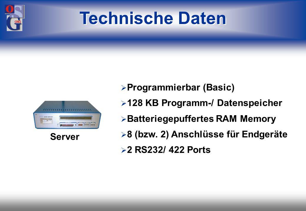 OSG 42 Inhalt einer Karte mit 256 KB: 500 Mitarbeiter ca. 71 KB 500 Meldungen ca. 29 KB 1000 Buchungen ca. 88 KB sowie Beauskunftungsdatei, Zeitartend