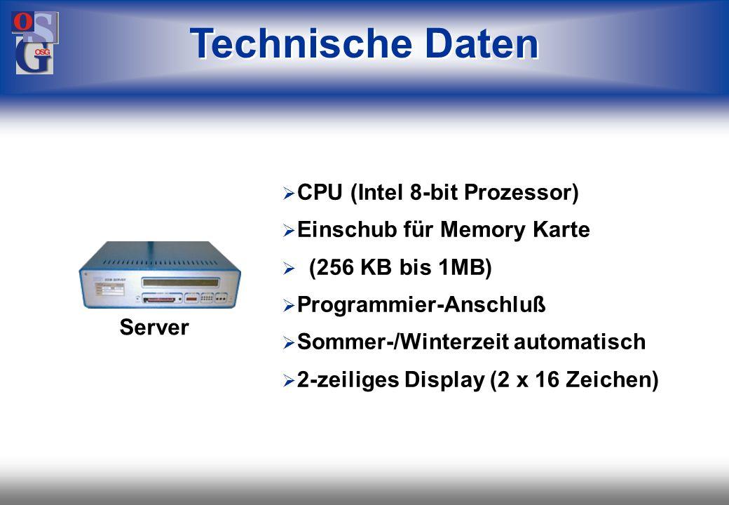 OSG 43 Programmierbar (Basic) 128 KB Programm-/ Datenspeicher Batteriegepuffertes RAM Memory 8 (bzw. 2) Anschlüsse für Endgeräte 2 RS232/ 422 Ports Se