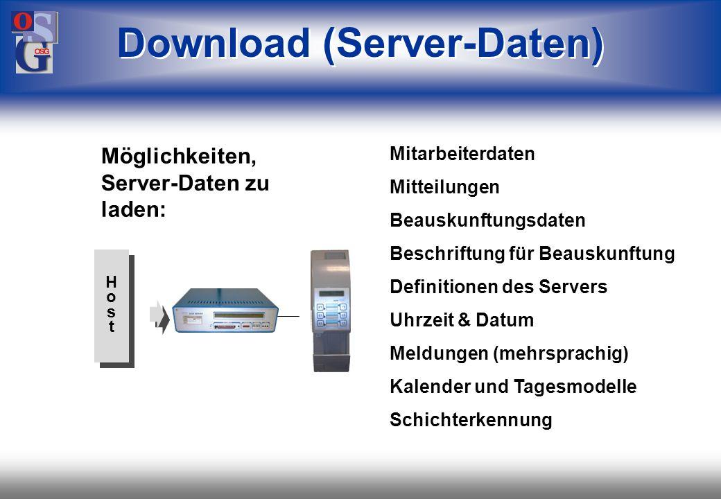 OSG 47 max. 26 Server max. 208 Endgeräte z.B. Erfassungsgeräte, Türöffner oder Tableaus max. 1200 m Leitungslänge Daisy-chain (Netzwerk)