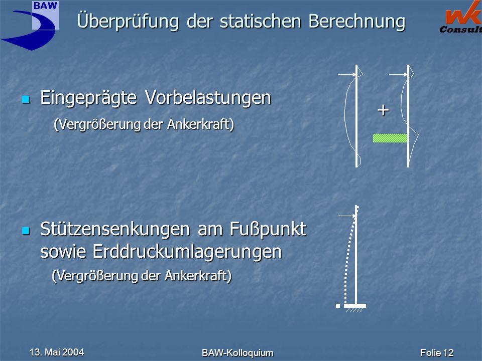BAW Consult 13. Mai 2004 BAW-KolloquiumFolie 12 Überprüfung der statischen Berechnung Eingeprägte Vorbelastungen (Vergrößerung der Ankerkraft) Eingepr
