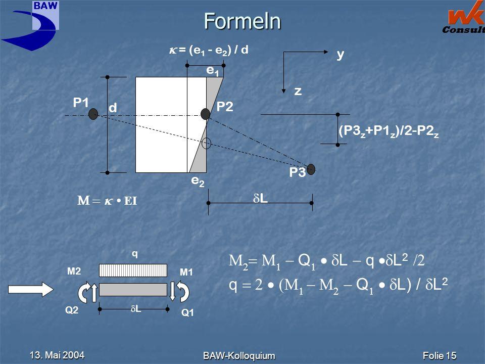 BAW Consult 13. Mai 2004 BAW-KolloquiumFolie 15 Formeln e1e1 e2e2 d = (e 1 - e 2 ) / d P1 P2 P3 (P3 z +P1 z )/2-P2 z z y q L M2 M1 Q2 Q1 Q L q L 2 q Q