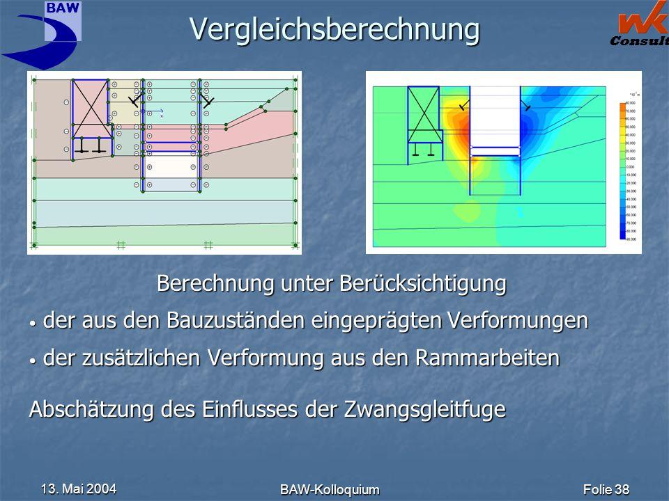BAW Consult 13. Mai 2004 BAW-KolloquiumFolie 38 Vergleichsberechnung Berechnung unter Berücksichtigung der aus den Bauzuständen eingeprägten Verformun