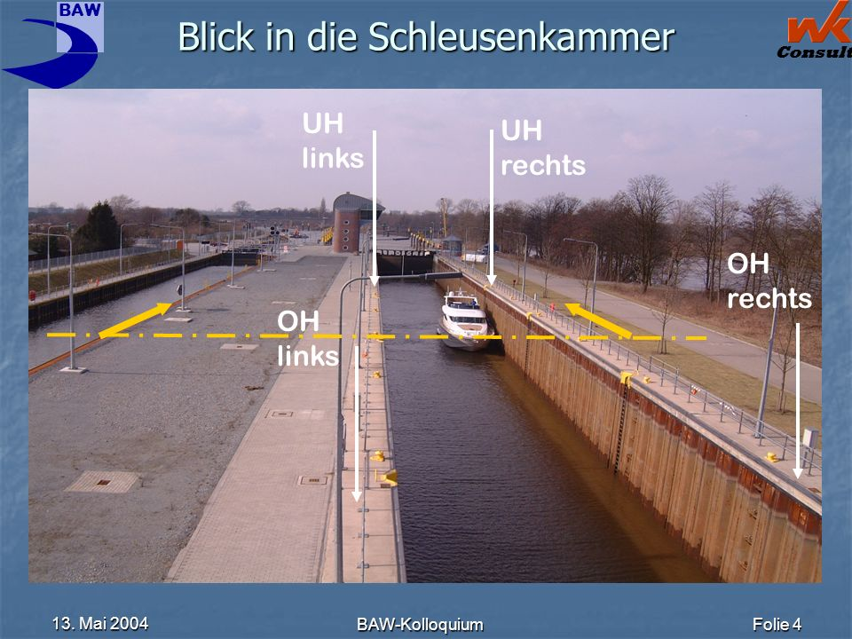 BAW Consult 13. Mai 2004 BAW-KolloquiumFolie 4 Blick in die Schleusenkammer UH rechts OH rechts OH links UH links