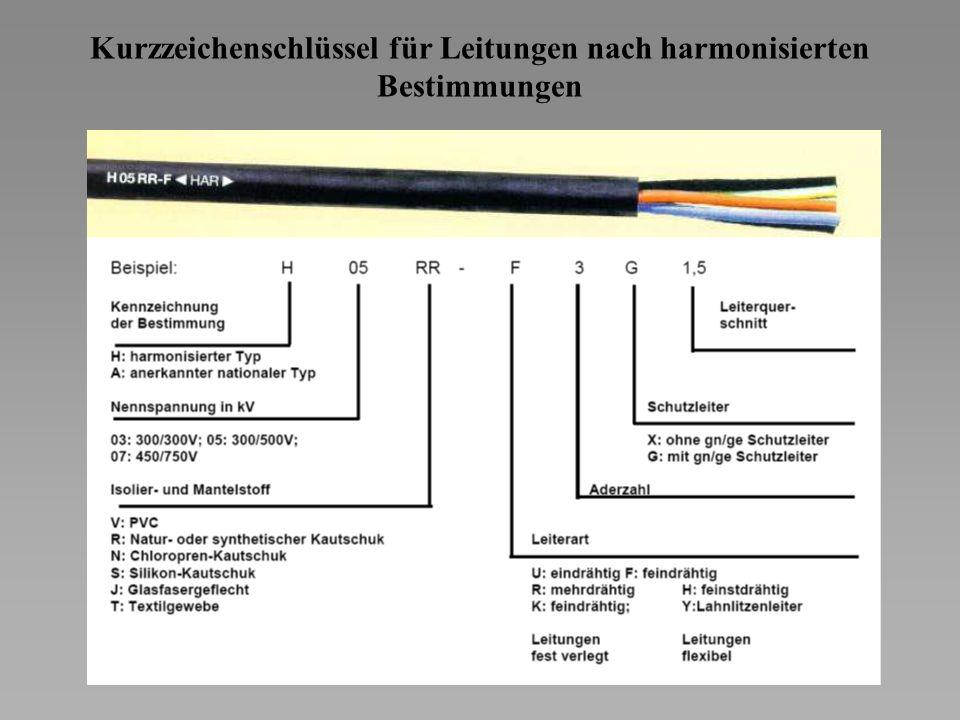 Kurzzeichenschlüssel für Leitungen nach harmonisierten Bestimmungen