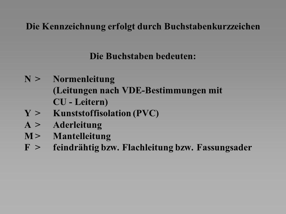 Die Kennzeichnung erfolgt durch Buchstabenkurzzeichen Die Buchstaben bedeuten: N>Normenleitung (Leitungen nach VDE-Bestimmungen mit CU - Leitern) Y>Kunststoffisolation (PVC) A>Aderleitung M>Mantelleitung F>feindrähtig bzw.
