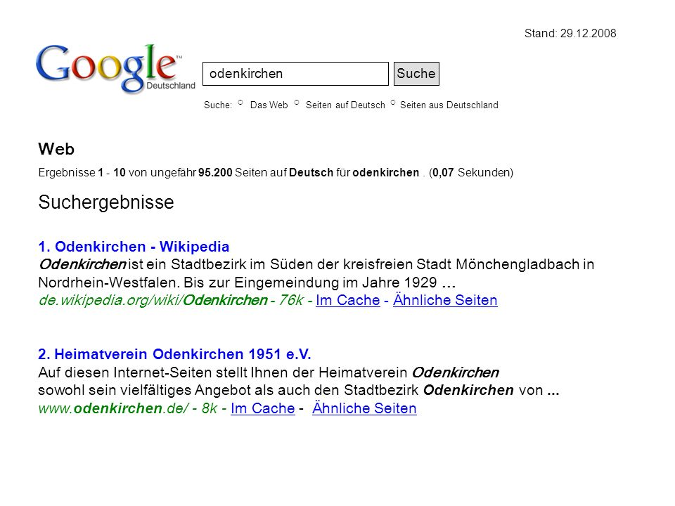 Web Ergebnisse 1 - 10 von ungefähr 95.200 Seiten auf Deutsch für odenkirchen. (0,07 Sekunden) Suchergebnisse 1. Odenkirchen - Wikipedia Odenkirchen is
