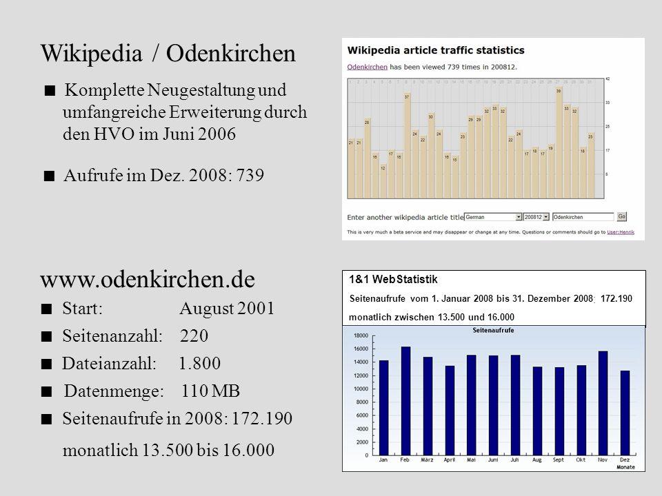 1&1 WebStatistik Seitenaufrufe vom 1. Januar 2008 bis 31. Dezember 2008 : 172.190 monatlich zwischen 13.500 und 16.000 www.odenkirchen.de Start: Augus