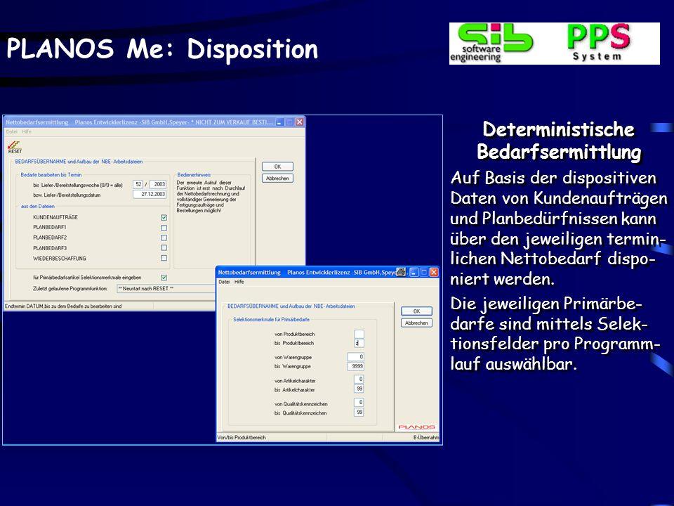 PLANOS Me: Disposition Deterministische Bedarfsermittlung Auf Basis der dispositiven Daten von Kundenaufträgen und Planbedürfnissen kann über den jewe