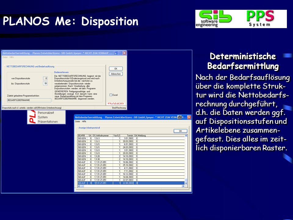PLANOS Me: Disposition Deterministische Bedarfsermittlung Nach der Bedarfsauflösung über die komplette Struk- tur wird die Nettobedarfs- rechnung durc